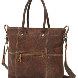 Button and Stitches Leather Bag